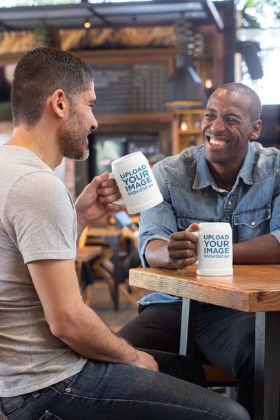 Beer Stein Mockup of Two Men Sharing a Drink at a Bar 33426