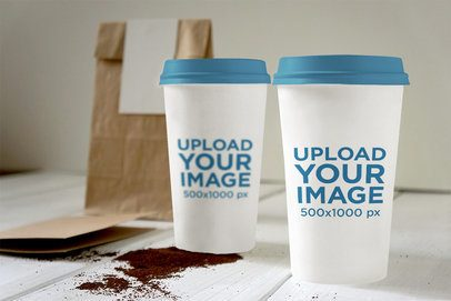 Mockup of Two Coffee Cups Next to Each Other 3796-el1