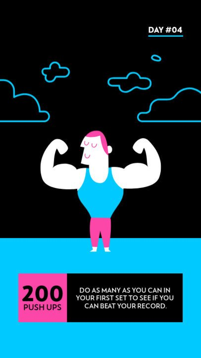 Fitness-Themed Instagram Story Creator with Cool Illustrations 1002a-el1