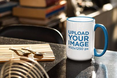 Mockup of a Customizable Inner Rim Mug Placed on a Desk 33665