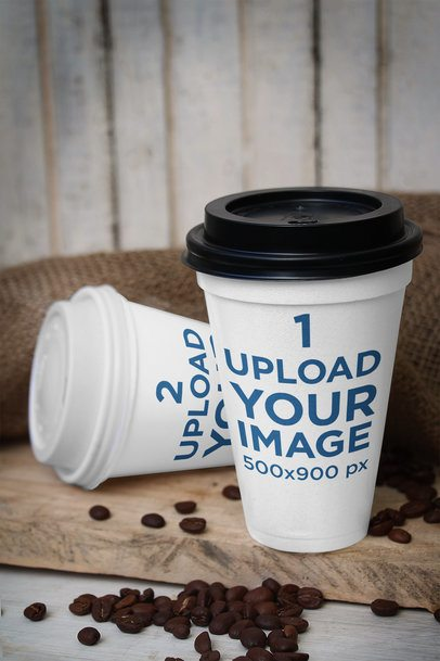 Mockup of Two Paper Cups Featuring Some Coffee Beans 3757-el1