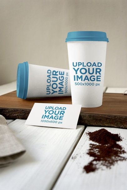 Mockup of Two Coffee Cups and a Business Card 3798-el1