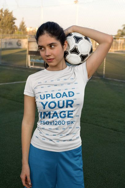 Jersey Mockup of a Girl Holding a Soccer Ball 33575