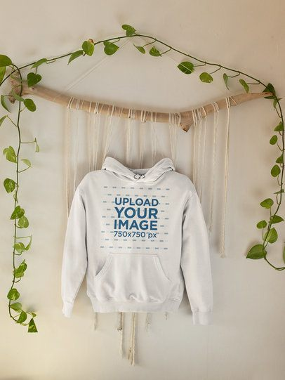 Mockup of a Pullover Hoodie Hanged by Some Leaves 33740