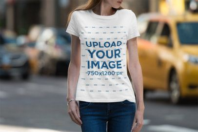 Mockup of a Woman with Basic Tee Walking on the Street 3360-el1