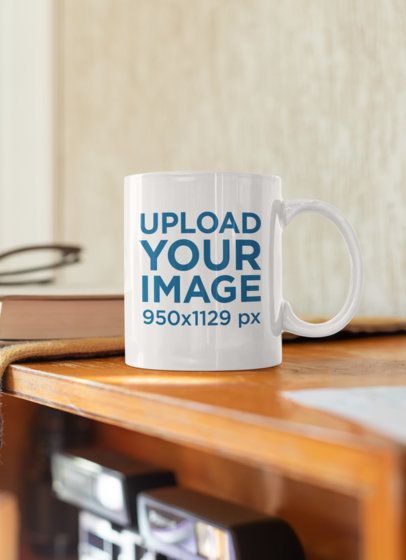 Mockup of an 11 oz Coffee Mug on a Wooden Shelf 33805