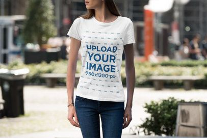 Mockup Featuring a Woman with a T-Shirt Standing on the Street 3364-el1