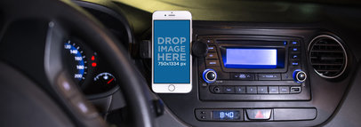 White iPhone 6 Mockup in a Car Holder a12789