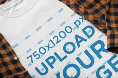 Mockup of a T-Shirt Matched with a Checkered Garment 33951