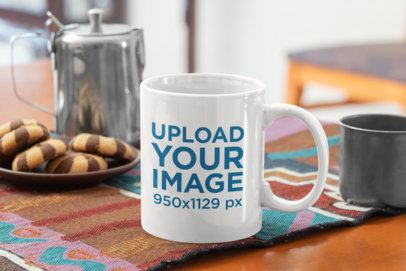 11 oz Coffee Mug Mockup Featuring Some Chocolate Cookies 33810
