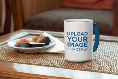 15 oz Colored Rim Mug Featuring a Small Plate With Figs 33811