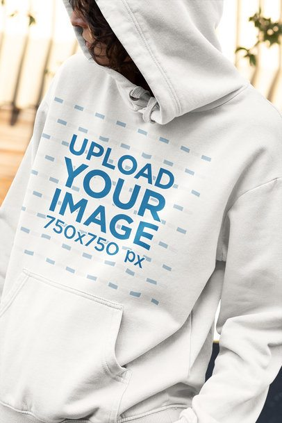 Hoodie Mockup of a Curly Haired Woman Looking Back 33745