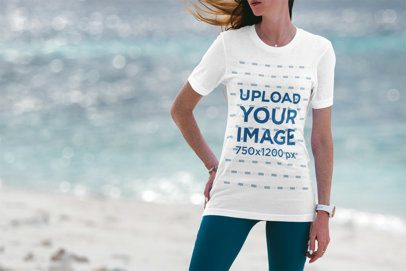 T-Shirt Mockup Featuring a Woman at the Beach 3326-el1