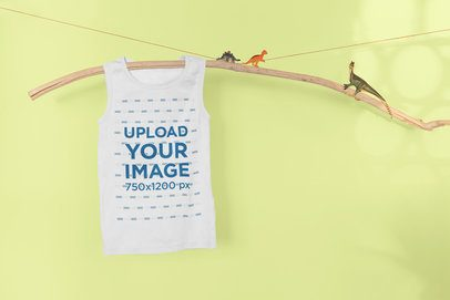 Mockup of a Kid's Tank Top Hanging in a Jurassic Setting 33961