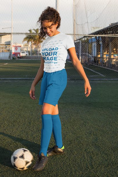 Jersey Mockup of a Teenage Girl Training Soccer 33571