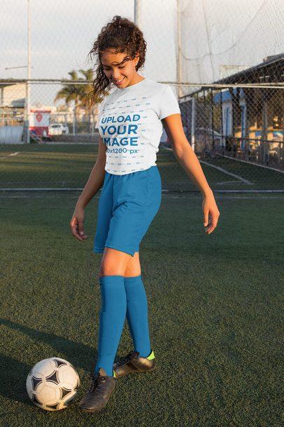 Jersey Mockup of a Teenage Girl Training Soccer 33571