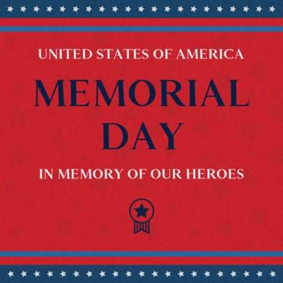 Patriotic Facebook Post Design Template to Celebrate Memorial Day 2486