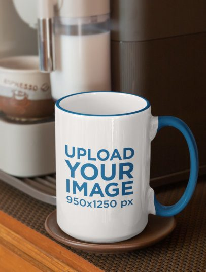 15 oz Colored Rim Mug Mockup Featuring a Coffee Machine 33825