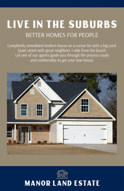 Flyer Design Maker for Real Estate Offer in the Suburbs 500d
