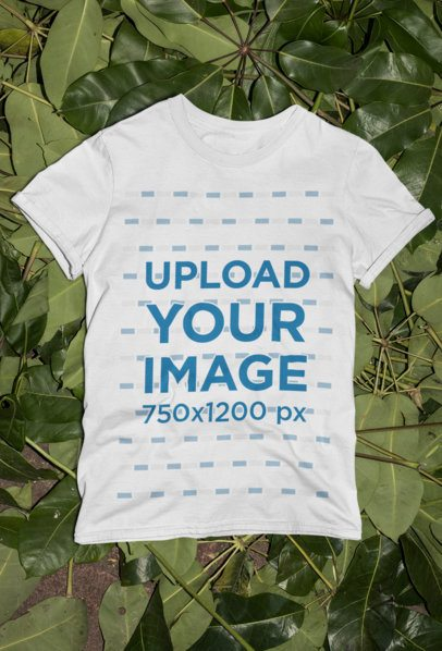 T-Shirt Mockup Featuring Some Leaves in the Background 33858