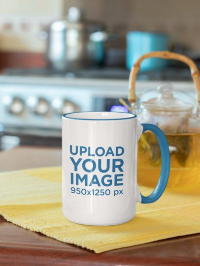 Mockup of a 15 oz Coffee Mug with Colored Rim on a Kitchen Table 33826