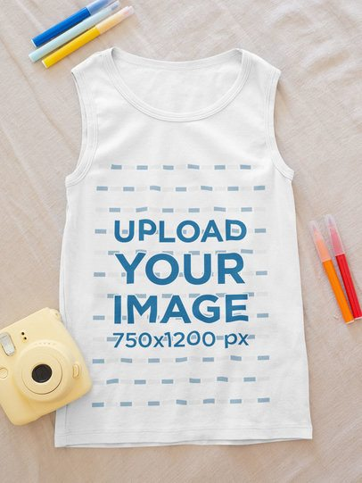 Mockup of a Kid's Scoop Neck Tank Top Featuring Some Markers 33845