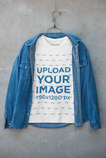 T-Shirt Mockup Featuring a Denim Jacket on Top 33688
