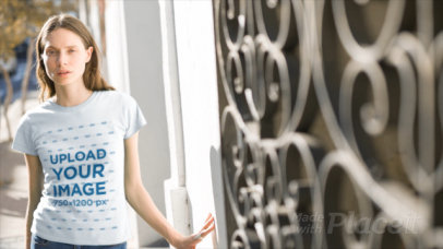 T-Shirt Video of a Woman Posing on the Street 13631