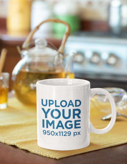 Mockup of an 11 oz Mug Featuring a Tea Set 33827