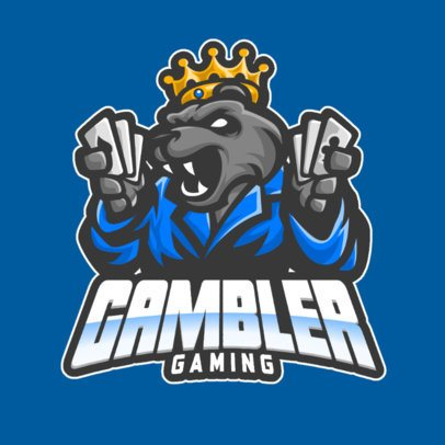 Gaming Logo Template Featuring a Gambling Bear Character 1212c-el1