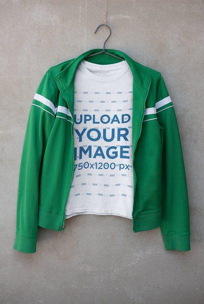 T-Shirt Mockup Featuring a Green Jacket 33687