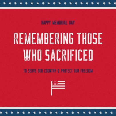 Memorial Day-Themed Facebook Post Template With an American Flag Icon 2486g