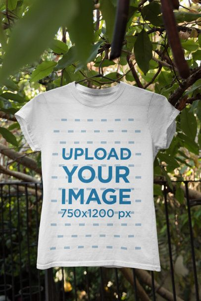Mockup Featuring a Crew Neck T-Shirt Hanging From a Tree 34004