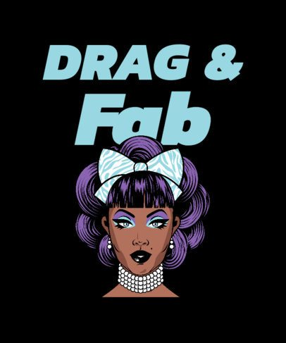 T-Shirt Design Template with a Fabulous Drag Queen Graphic 2480a