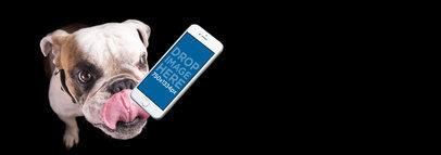 iPhone 6s Mockup Featuring a Bulldog Over a Black Background a12952wide