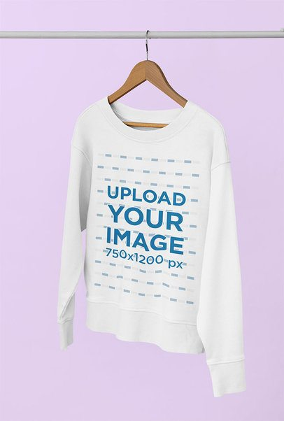 Women's Sweatshirt Mockup Featuring a Plain Background 33983