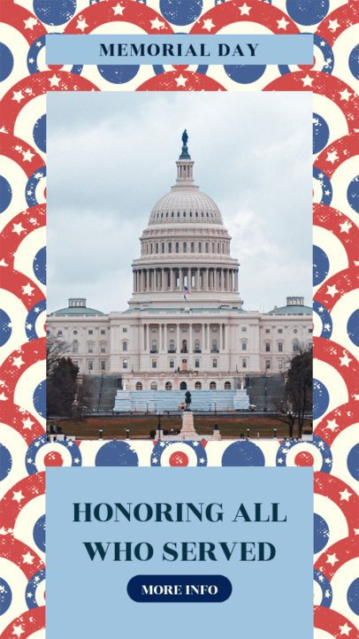 Instagram Story Generator for Memorial Day With a Patriotic Patterned Background 2483e
