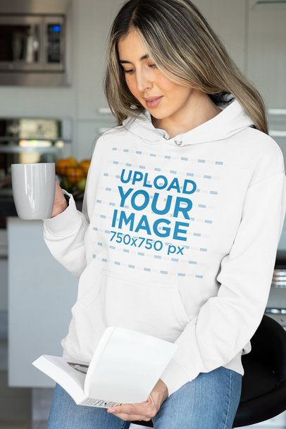 Pullover Hoodie Mockup of a Woman Reading a Book 33881
