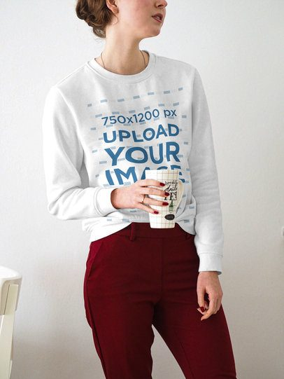 Sweatshirt Mockup of a Young Woman Standing in Front of a Light-Color Wall 3855-el1