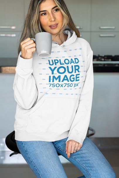 Mockup of a Woman with Long Hair Wearing a Pullover Hoodie 33882