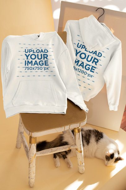 Both Sides View Hoodie Mockup Featuring a Cat 33760