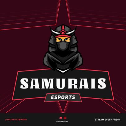 Gaming-Themed Instagram Post Creator with a Samurai Graphic 1114a-el1
