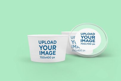 Mockup Featuring Two Food Cups and a Customizable Lid 4011-el1