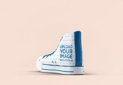 Mockup of a Single High Top Sneaker Against a Colored Backdrop 3269-el1