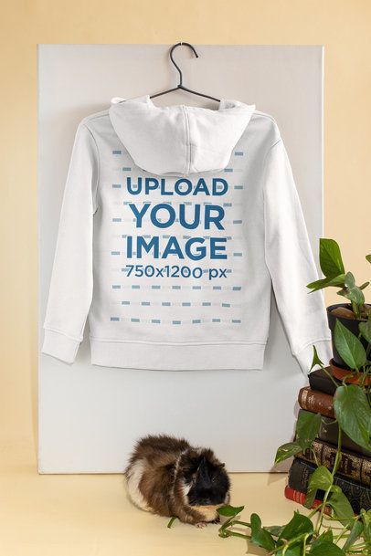 Mockup of the Back of a Hoodie Featuring a Guinea Pig 33756
