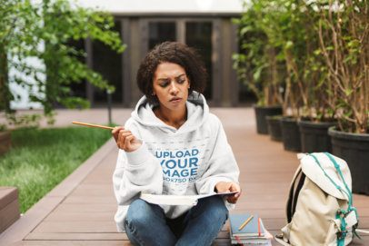 Hoodie Mockup Featuring a Woman Studying 34150-r-el2