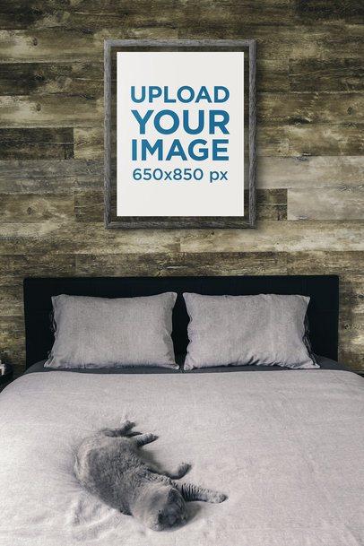 Art Print Mockup Featuring a Cat on a Bed 3945-el1