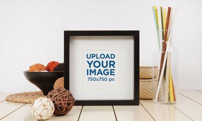 Art Print Mockup Featuring a Set of Home Decor Items 3955-el1
