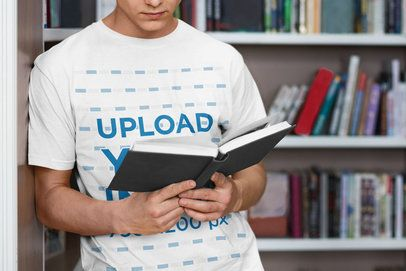 Cropped Face Mockup of a Man with a T-Shirt Reading at a Library 34100-r-el2
