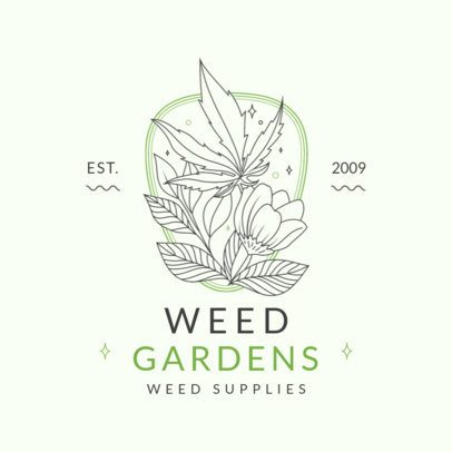 Weed Supplies Store Logo Creator with Minimalist Graphics 3234